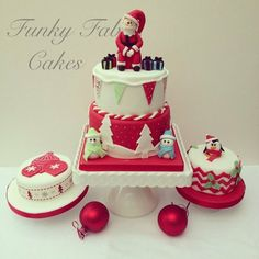 Christmas cakes Cake by funkyfabcakes