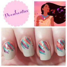 Pocahontas Nails, nail art, tutorials, nails, how to , nail polish, Disney, Disney princess, princess nails