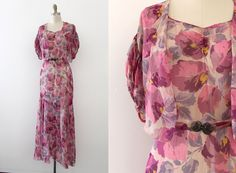 vintage 1930s gown // 30s silk sheer floral gown by TrunkofDresses