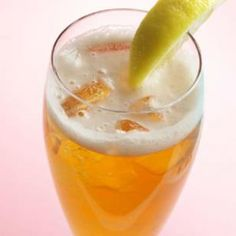 Shandy~ The English have been making shandys since the 1600s. If you prefer, you can substitute 1 1/2 cups ginger ale for the seltzer and frozen limeade.  Makes: 2 servings   1 1/2 cups seltzer, 1 beer, 2 tablespoons frozen limeade, 2 lemon wedges.  Combine seltzer, beer and limeade. Pour into glasses and garnish with lemon wedges.