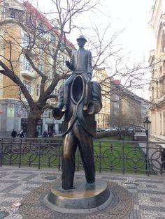 Franz Kafka Monument next to Spanish Synagogue in Prague.