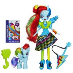 My Little Pony Equestria Girls MLP Rainbow Rocks includes an 8 inch Rainbow Rocks Rainbow Dash Doll, outfit, Rainbow Dash Pony, wings, Rainbow guitar, Brush and Backstage pass.