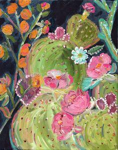 Boho Desert Art Series - Prickly Pear Succulent 1 - Print - Bari J. Art Prints, Art Painting, Flower Art, Cactus Art, Floral Art, Painting, Desert Art, Art, Art Series