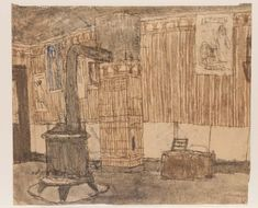 James Castle-interior with stove / interior with coffee grinder), 20th c. Soot and color of unknown origin on paper.