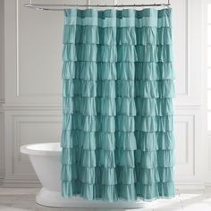 Ruffled Turquoise Shower Curtain Blue