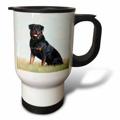 3dRose Rottweiler, Travel Mug, 14oz, Stainless Steel