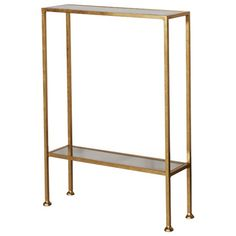 Worlds Away Small Gold Leaf Shelf with Antique Mirror Tops PORTER 1