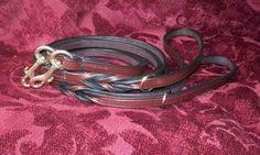 Regalstag Italian leather luxury twist handle clip leads in Australian Nut.