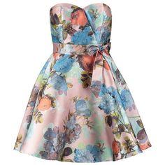 Chi Chi London Summer dress pink flower ($93) ❤ liked on Polyvore featuring dresses, vestidos, short dresses, robe, multicoloured, mini dress, floral dress, strapless floral dress, flower print dress and short cocktail dresses