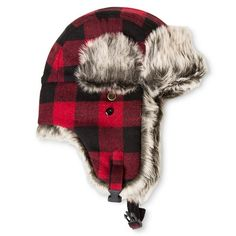 Men's Buffalo Check Fur Trapper Red/Black One Size - Mossimo Supply Co.™ : Target