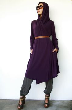 NO94 Purple Rayon Hooded Wrap Cardigan by JoozieCotton