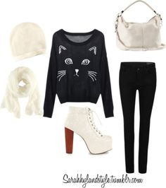 Sarah Inspired for black Friday shopping by ashleyglass featuring a black cat shirtBlack cat shirt / AllSaints skinny leg jeans / Jeffrey Campbell  boots, $190 / H&M , $95 / H&M , $13 / H&M , $11