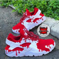"Custom ""Red Gushers"" Nike Huarache - Katty Customs,Sneakers for Women - Comfortable Once they were element of sports fashion alone, today they are a trend and have grown to be an integral part of the c. Cute Sneakers, Sneakers Mode, Sneakers Fashion, Shoes Sneakers, Women's Shoes, Shoes Style, Shoes Men, Casual Shoes, Flat Shoes"