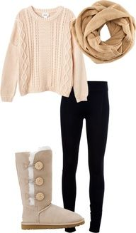Black leggings, over-sized pink sweater, brown scarf, and UGG (casual)/black boots (work)