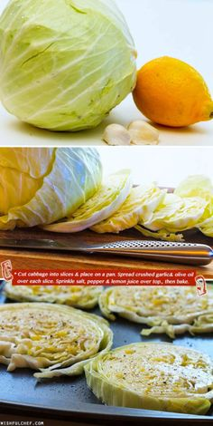 Roasted Cabbage with Lemon and Garlic