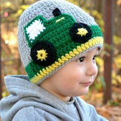 Tractor Hat - Handmade Crocheted Tractor Hat - Boy Tractor Hat - Boy Hat - Green Tractor - Handmade By Maritsa - Big Green Tractor Hat Crochet Baby Boy Hat, Crochet Hats For Boys, Baby Boy Hats, Crochet Baby Clothes, Crochet Beanie, Cute Crochet, Knitted Hats, Crochet Projects, Crochet Patterns