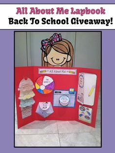 Giveaway - All About Me Back to School Activity Lapbook! All About Me Project, Interactive Writing Notebook, First Day Of School Activities, Welcome Back To School, School Opening, Schools First, Beginning Of The School Year, Classroom Activities, Classroom Ideas