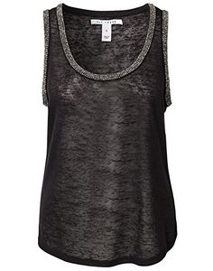NLY Trend Women's Rhinestone Tanktop Black Size X-Small 100% polyester. NLY Trend http://www.amazon.com/dp/B00OO0H4JW/ref=cm_sw_r_pi_dp_vCwPvb1F01TMC