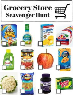 Free printable grocery store scavenger hunts, three different designs to choose… Mutual Activities, Fun Activities For Kids, Spelling Activities, Montessori Activities, Activity Ideas, Family Activities, Preschool Activities, Scavenger Hunt For Kids, Scavenger Hunts