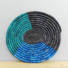 Handwoven Grass Trivet Teal Blue and Black Table by Ubushobozi