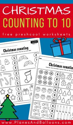 Free Christmas counting worksheets for preschool - counting numbers and Perfect for December math centers! Christmas Math Worksheets, Preschool Christmas Activities, Printable Preschool Worksheets, Kindergarten Math Activities, Counting Activities, Work Activities, Preschool Curriculum, Free Printable, Printables