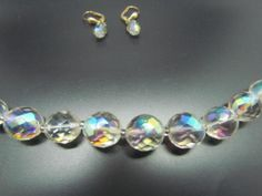Vintage Set of W. Germany Clear Crystal Necklace & Bezel Set Earrings