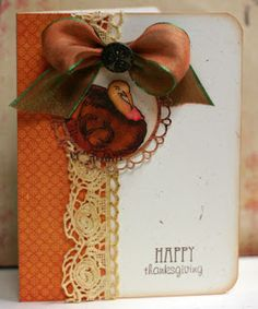 Prickley Pear Rubber Stamps:  JJ0066 Turkey, CLR018 Oak and Maple Leaf Clear Set, D013 Scalloped Circle Die