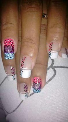 Vɨʋɨaռa Valentine Nails, Valentines, Cc Nails, School Nails, French Tip Nails, Cheetah Print, Pretty Nails, Finger, Nail Designs