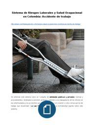 Sistema de Riesgos Laborales y Salud Ocupacional en Colombia: Accidente de trabajo