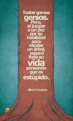 Citando a Albert Einstein, las personas suelen ser medidas bajo los mismos estandares y ellas al no alcanzar estos caen en negación y pueden deprimirse, todas las personas se desenvuelven de diferentes maneras y no se debe de exigir igualmente si no ir a su ritmo