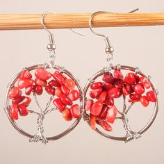 Tree of Life Earrings Tree of Life Jewelry Red Earrings Red