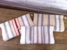 Linen and leather clutches made in Lisa Kingsley's workshop in Leon, Mexico. Get them at Dose!