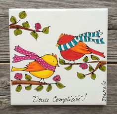 Ceramic tile, hand painted birds lover, square trivet, by Isabelle Malo China Painting, Mural Painting, Painting For Kids, Diy Painting, Pottery Painting, Ceramic Painting, Ceramic Cafe, Sharpie Art, Ceramic Birds