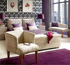Another purple bedroom. I think the reason I am liking these is because the color of the rooms are balanced. There is a calming color like the beige and black that subdue the purple while not completely deluding it.