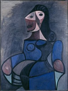 Pablo Picasso -The work Femme en bleu, 1944. Oil on canvas. Centre Pompidou Paris
