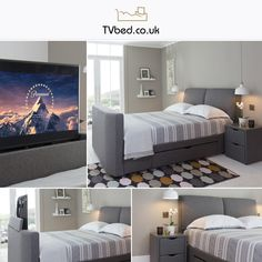"""Naos 43"""" is one of our more popular Tv Beds ever introduced! 🛏️We've recently updated the model with a slimmer footboard, a bigger TV capacity, and more luxurious, neat material 🤩 Tv Bed Frame, Cosy Bed, Latest Hits, Tv Beds, Large Tv, Bed Storage, Bed Sizes, Grey Fabric, Mattress"""