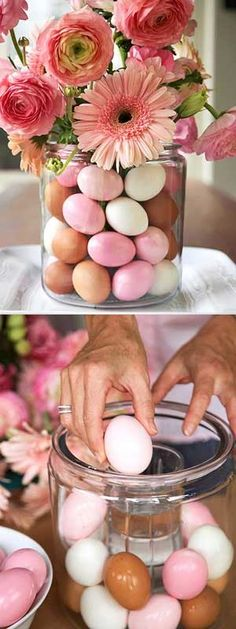 Easter: Table Setting. Place a glass filled with water inside the vase so that the eggs are supported and dry, but the flowers wet.