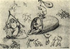 Beehive and witches - Artist: Hieronymus Bosch Style: Northern Renaissance Genre: sketch and study Technique: pen Material: paper Hieronymus Bosch, Jan Van Eyck, Witch Painting, Renaissance Artists, Figure Sketching, Scratchboard, Dutch Painters, Art Database, Expo