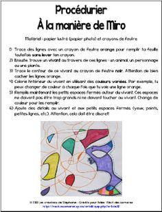 Arts Plastiques - 2e et 3e cycle - Crayons feutres - Les créations de Stéphanie: À la manière de Mirò