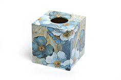 Blue Harmony Tissue Box Cover: Amazon.co.uk: Kitchen & Home - lovingly hand decoupaged by Crackpots