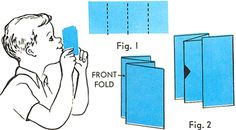 paper train whistle  Obtain a piece of paper. Fold it into 4 parts, as pictured in Figure 1. Cut a hole in center fold, as seen in Figure 2. Then hold the front fold against your lips and blow into it. You will be delighted with the first class whistle you have made for your train.