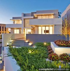 contemporary exterior stack stone wall