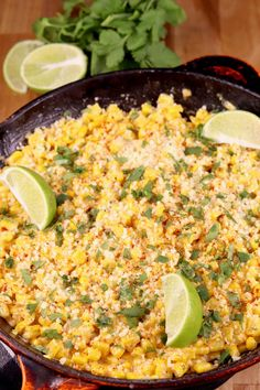 Skillet Mexican Street Corn is a quick and easy side dish to add to just about any dinner. Everything you love about Mexican Street Corn on the Cob but much easier to serve and enjoy! Buttery corn with a creamy sauce, a splash of lime and cotija cheese. Best Soup Recipes, Corn Recipes, Side Dish Recipes, Favorite Recipes, Yummy Recipes, Yummy Food, Salad Recipes, Dishes Recipes, Cinco De Mayo