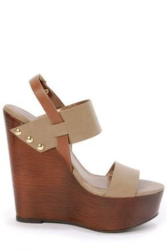 73d1dfc87e0f64 Show  em what s cookin  in your pipin  hot Soda Chef Stone Taupe Wooden  Platform Wedge Sandals!