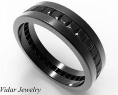 Men Wedding Band Unique Black Gold Princess Cut Diamond For Eternity Ring