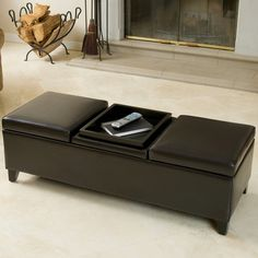 Christopher Knight Home Harold Espresso Leather Storage Ottoman - Espresso