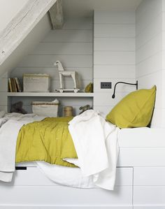 Create a super stylish attic bedroom under the eaves with a high bed & handy storage beneath, via The Room Edit Loft Room, Bedroom Loft, Dream Bedroom, Kids Bedroom, Kids Rooms, Baby Bedroom, Bedroom Ideas, Attic Bedrooms, Guest Bedrooms