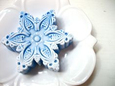 SALE on SNOWFLAKE Peppermint SOAP Ornate Blue by thecharmingfrog, $6.00