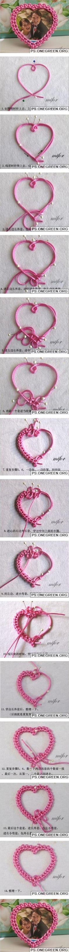 DIY Chinese Knot Heart Picture Frame