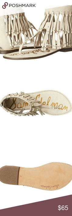 "New SAM EDELMAN Griffen Sandals New SAM EDELMAN Griffen Sandals in Ivory  Heel height .5 "" Shaft 5.25 ""  Leather insole and leather lining Leather fringe with studded accents Back zip closure Thong style silhouette Sam Edelman Shoes Sandals"